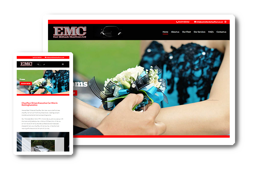 A preview of the East Midlands Chauffeurs website in desktop & mobile view