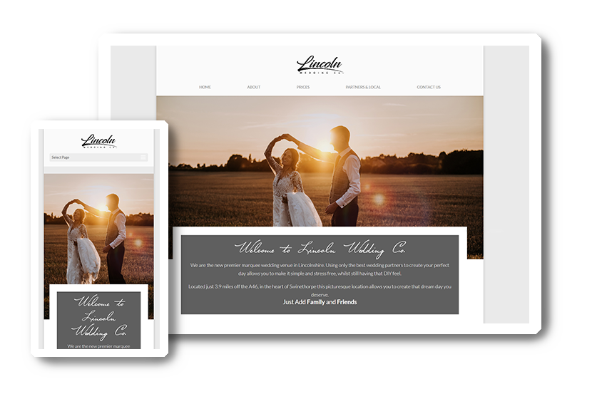 A preview of the Lincoln Wedding Co. website in desktop & mobile view