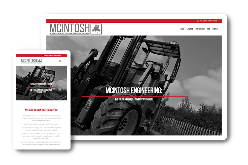 A preview of the Mcintosh Engineering website in desktop & mobile view