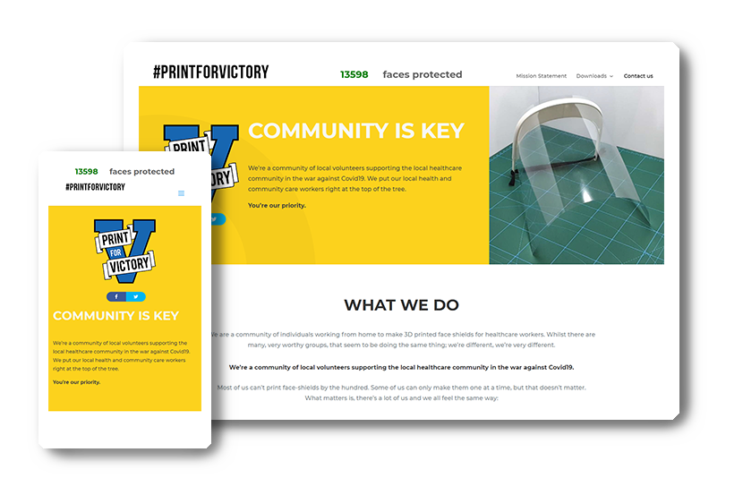 A preview of the #printforvictory website in desktop & mobile view