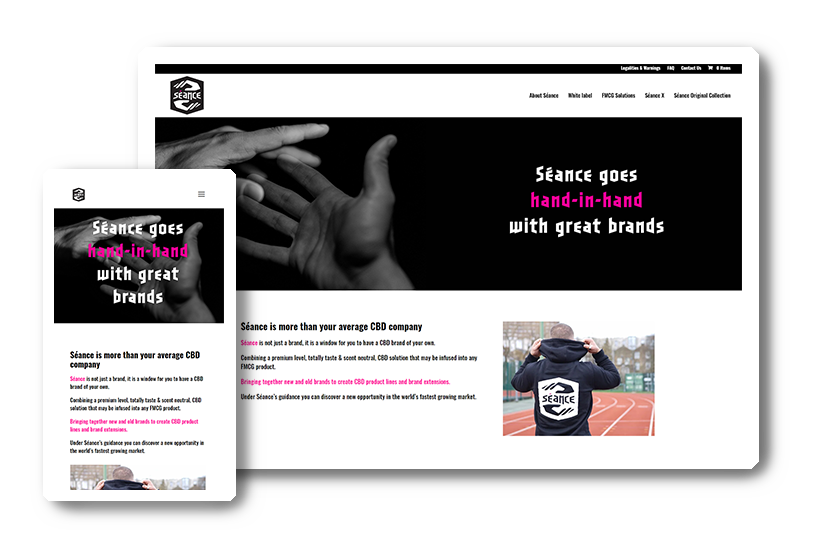 A preview of the Séance CBD website in desktop & mobile view