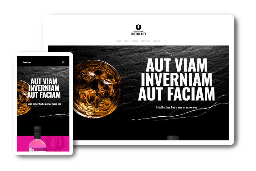 A preview of the Unconventional Distillery website in desktop & mobile view