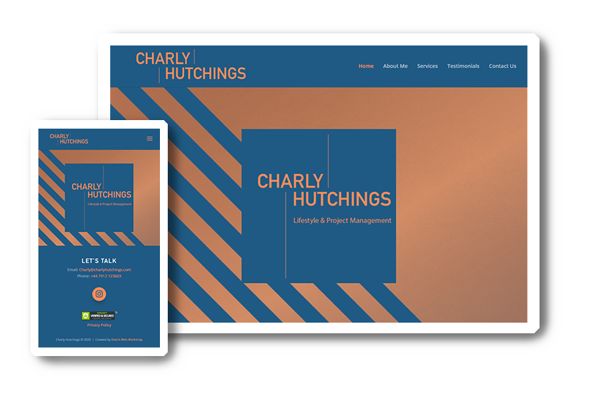 A preview of  Charly Huchings website in desktop & mobile view